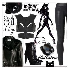 """""""Diy Cat woman costume...halloween party..."""" by nihal-imsk-cam on Polyvore featuring moda, The Row, Yves Saint Laurent, Fleet Ilya, Jeffrey Campbell, Masquerade ve Lulu Guinness"""