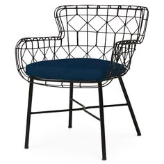 Chloe Modern Classic Navy Black Steel Outdoor Arm Chair   Kathy Kuo Home