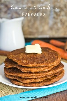 Carrot Cake Pancakes - Made with coconut and almond flour, these are grain-free, healthy, and delicious pancakes.  Recipe shared at DessertNowDinnerLater.com #pancakes #healthy #carrotcake