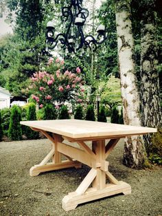 DIY farmhouse trestle table-with the right stain, beautiful.