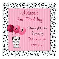 Childs 3rd Birthday Party Invitation Pink Invitations Purple