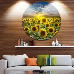 DESIGN ART Designart 'Field of Blooming Sunflowers' Flower Disc Metal Artwork