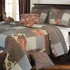 Full / Queen Size 100% Cotton Reversible Patchwork Quilt Set