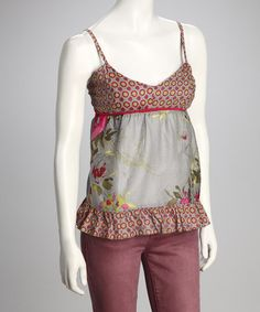 Take a look at this Gray Floral Ruffle Tank by Funky People on #zulily today!