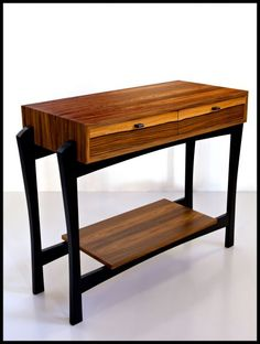 The waterfall grain of the console case and soft-touch drawer slides add romance to what will be a most beloved utilitarian design in your home. Timber Furniture, Handmade Furniture, Fine Furniture, Unique Furniture, Furniture Projects, Furniture Design, Woodworking Inspiration, Cool Woodworking Projects, Woodworking Furniture