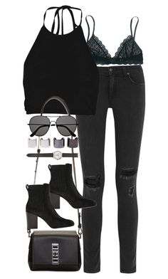 """""""Inspired outfit featuring all black"""" by whathayleywore ❤ liked on Polyvore"""