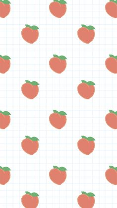 Hand drawn peach pattern on white grid mobile phone wallpaper illustration | premium image by rawpixel.com / marinemynt Iphone Wallpaper Grid, Peach Wallpaper, Kawaii Wallpaper, Mobile Wallpaper, Aesthetic Pastel Wallpaper, Aesthetic Wallpapers, Pink Mobile, Peach Aesthetic, Watercolor Pattern