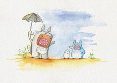 """Domo Kun as Totoro - 5""""x7"""" - watercolor reproduction"""