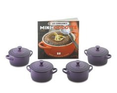 Le Creuset Stoneware 4-Piece Mini Cocotte Set with Cookbook