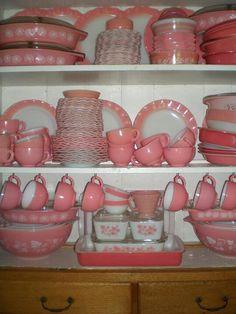 Vintage pink pyrex dinnerware
