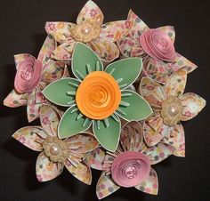 Kusudama Paper Flower Bouquet  7 stems  Pink Green by aquavina, $20.00
