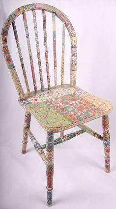 decoupage de silla de madera Fleur por kitschemporium en Etsy