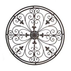 Round Tuscan Wrought Iron Wall Grille With Fleur-De-Lis Accents Metal Wall Art Uk, Wrought Iron Wall Decor, Circle Metal Wall Art, Metal Wall Decor, Metal Walls, Photo Wall Decor, Wall Decor Pictures, Tuscan Decorating, Decorating Blogs