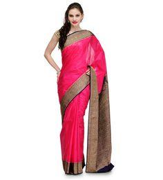 Magenta Silk Jacquard Saree | Fabroop USA
