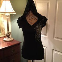 Tee Black tee with mess hood and cap sleeves and flower design bling S-Twelve Tops Tees - Short Sleeve