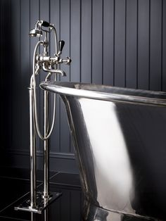 Standpipes are an elegant accompaniment to any free-standing bath. This is La Loire in silver nickel from Catchpole and Rye.