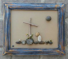 Pebble Art Forgiven set in a 9x12 open wood frame von CrawfordBunch