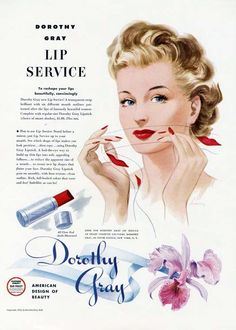 dorothy gray lip service - lipstick stencils 1940s http://pzrservices.typepad.com/vintageadvertising/2011/09/vintage-ad-for-angel-face-cosmetics.html
