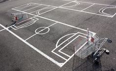 With just a few shopping carts and some white tape, you can transform any parking lot into something cool.