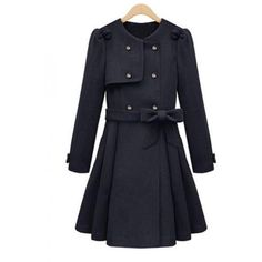 Dark Blue Round Neck Double Breasted Wool Coat$98.00 ($98) ❤ liked on Polyvore