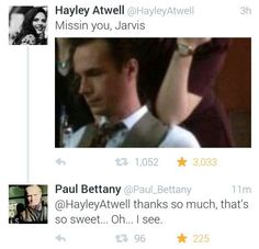 Hayley Atwell misses Jarvis, and Paul Bettany responds. Jarvis humor. Captain America. Agent Peggy Carter. Vision.… http://ibeebz.com