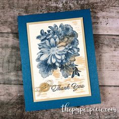 Today's project is a card inspired by my friend and fellow demonstrator, Robyn Ryan! It features the Heartfelt Blooms stamp set stamped on the Wood Textures Designer Series Paper! I never think to stamp onto Designer Series Paper, but I absolutely love it! Check out Robyn's design: Swoon! Dapper Denim and the Wood Textures Designer…