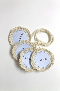 GIFT TAGS BLUE Handmade Crochet Inspirational Word Tags Set of Four