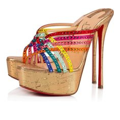 Christian Louboutin United States Official Online Boutique - Marthastrass Alta 150 Version Multi/Gold Strass available online. Discover more Women Shoes by Christian Louboutin Sexy Heels, Stiletto Heels, High Heels, Gold Sandals, Open Toe Sandals, Louboutin Online, Christian Louboutin Women, Red Sole, Red Bottoms