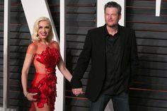 Gwen Stefani and Blake Shelton arrive to the Vanity Fair Oscar Party on Feb. 28, 2016.