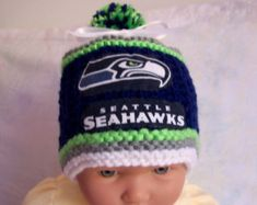 3dd65b58646 Hand Made Knit NFL Seattle SEAHAWKS Baby Hat 0 12M Team Colors Cute Pattern  Seattle Football