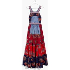 MADEWELL Ulla Johnson™ Lune Patchwork Apron Dress (€370) ❤ liked on Polyvore featuring dresses, patchwork, colorful dresses, red maxi dress, embroidered maxi dress, red dress and multi color maxi dress