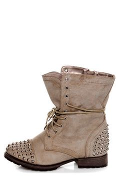Check it out from Lulus.com! Combat those commonplace boots with the coolest ever, Georgia Ice Taupe Studded Lace-Up Combat Boots! These burnished vegan leather boots in white-washed taupe hit above the ankle, with spiky silver studs covering the toe cap and heel cup. 8.5