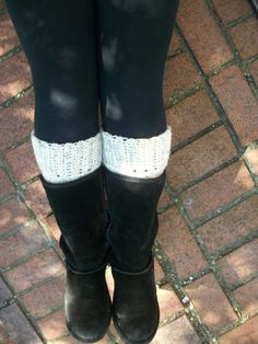 Boots Cuffs Leg Warmers Boot Socks Cream Wool by BlueBayCrochet