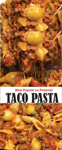 dinner recipes for family main dishes TACO PASTA Casserole Recipes, Meat Recipes, Mexican Food Recipes, Dinner Recipes, Cooking Recipes, Taco Pasta Recipes, One Pot Meals, Easy Meals, I Love Food