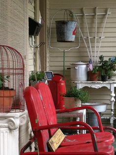 red roadside rescued porch