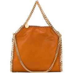 Stella McCartney mini Falabella tote (3.540 RON) ❤ liked on Polyvore featuring bags, handbags, tote bags, orange, top handle purse, mini handbags, orange handbags, tote handbags and stella mccartney tote