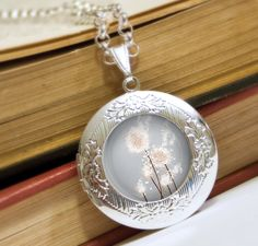 Silver Dandelion Locket Necklace - Silver Locket - Perennial Moment (silver) - Wearable Art with Silver Chain. $32.00, via Etsy.