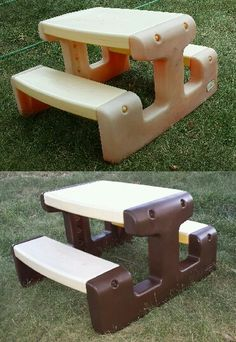 Little tikes picnic table makeover picnic tables picnics and craft lightly sanded then i used krylon fusion for plastic on the sides only and it looks great little tikes picnic table makeover watchthetrailerfo