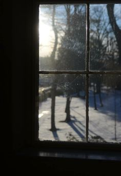 A winter view from Emily Dickinson's bedroom window in the Homestead. The Emily Dickinson Museum, Amherst, MA.