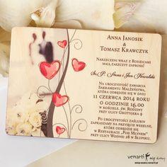Oferujemy drewniane zaproszenia ślubne z grawerem lub kolorowe! Invitations, Wedding, Valentines Day Weddings, Weddings, Save The Date Invitations, Mariage, Marriage, Invitation, Chartreuse Wedding