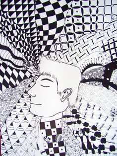 Zentangle Hair - student work - Huy Middle School Art Projects, Visual, Inspiration, Zentangle, Doodles, Abstract Artwork, Art