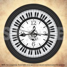 Piano Keys Decorative Wall Clock by DecorativeTime on Etsy Instruments, Piano Room, Piano Art, Cool Clocks, Piano Keys, Music Decor, Music Stuff, Music Is Life, Musicals
