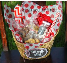Gift Idea Basket with Cookies, milk jar, straws, napkin, candy, crochet coaster. (Change out tags for any holiday or occasion)
