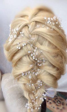 Long Hair Vine Tiara headband crown bride prom UK pearls/ – Rain Drops on Roses x Boho Bridal Hair, Bridal Hair Vine, Boho Wedding, Hair Wedding, Tiara Hairstyles, Flower Girl Hairstyles, Wedding Hairstyles, Bridesmaid Hair Accessories, Beach Accessories