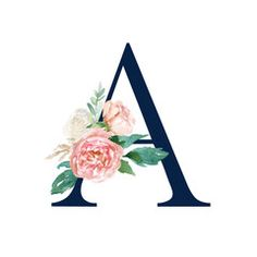 Floral Alphabet - navy color letter A with flowers bouquet composition. b harfi Floral Alphabet - navy color letter A with flowers bouquet composition. Name Wallpaper, Wallpaper Backgrounds, Iphone Wallpaper, Floral Letters, Monogram Letters, Stylish Alphabets, Bridal Flowers, Floral Flowers, Navy Color