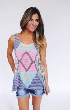Dottie Couture Boutique - Pastel Aztec Tank , $30.00 (http://www.dottiecouture.com/pastel-aztec-tank/)