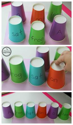 Build a Sentence Puzzle Cups - Fun Reading Activity for Kindergarten