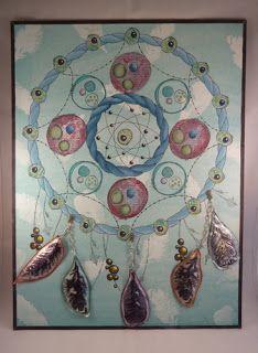 A3 dreamcatcher, fresco paints,PaperArtsy stamps,