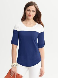 Banana Republic | Colorblock Roll-Sleeve Top