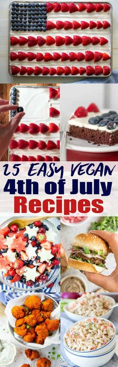 Celebrate Independence Day with these vegan 4th of July recipes! So many vegan burgers, potato salads, and vegan hot dogs in just one place! And of course we've also got some simple red, white, and blue recipes for you! Perfect for your 4th of July party!